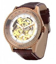 Ouyawei Business Gold And White Dial Brown Leather Strap Mechanical es
