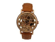 Ouyawei Business Mechanical Ross Round Gold Dial Brown Leather Strap es