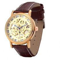 Ouyawei Business Rose Gold Dial Brown Leather Strap Mechanical es