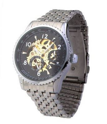 Ouyawei Luxury Stainless Steal Black Dial Skeleton Mechanical Automatic Wrist es