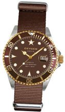 Oxygen Gold Turtle 40 unisex quartz with brown Dial analogue Display and brown nylon Strap EX-D-GOL-40-BR