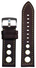 Panatime Torrino Italian Lamb Rally Brown with Yellow Stitching and Backing band width 26mm