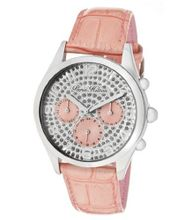 Beverly Silver Glitter Dial Coral Pearl Tone Genuine Calf Leather
