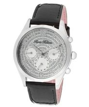 Beverly Silver Glitter Dial Shiny Black Genuine Calf Leather