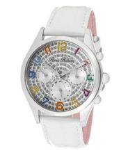 Beverly Silver Glitter Dial White Pearl Tone Genuine Calf Leather