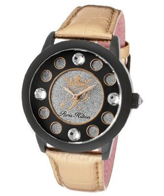 Fame White Crystal Silver Glitter/Black Dial Metallic Rose Gold Genuine Calf Leather