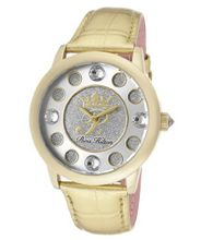 Fame White Crystal Silver Glitter/Silver Dial Metallic Gold Genuine Calf Leather
