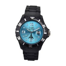 Paris Kids Silicone Quartz Calendar Date Black and Light Blue Dial Designed in France Fashion