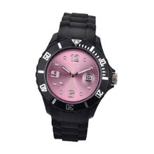 Paris Kids Silicone Quartz Calendar Date Black and Light Rose Dial Designed in France Fashion