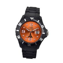 Paris Kids Silicone Quartz Calendar Date Black and Orange Dial Designed in France Fashion