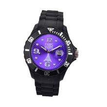 Paris Kids Silicone Quartz Calendar Date Black and Purple Dial Designed in France Fashion