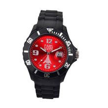 Paris Kids Silicone Quartz Calendar Date Black and Red Dial Designed in France Fashion