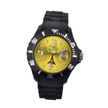 Paris Kids Silicone Quartz Calendar Date Black and Yellow Dial Designed in France Fashion