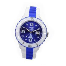 Paris Kids Silicone Quartz Calendar Date White and Multicolor Dark Blue Dial Designed in France Fashion