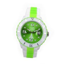 Paris Kids Silicone Quartz Calendar Date White and Multicolor Green Dial Designed in France Fashion