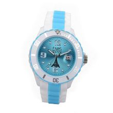 Paris Kids Silicone Quartz Calendar Date White and Multicolor Light Blue Dial Designed in France Fashion