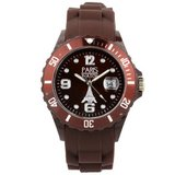 Paris Silicone Brown Fashion Quartz Calendar Date for  and  Designed in France Unisex
