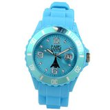 Paris Silicone Light Blue Fashion Quartz Calendar Date for  and  Designed in France Unisex