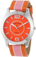 Pedre 0090SOX Pink/ Orange Striped Grosgrain Strap Silver-Tone