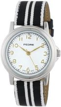 Pedre 0231SX Black/ White Striped Grosgrain Strap Silver-Tone