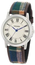 Pedre 0235SX Silver-Tone with Brown Plaid Strap