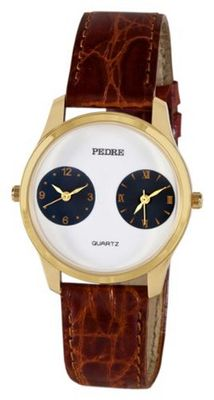 Pedre Unisex Gold-Tone Dual-Time Leather Strap Travel # 0281GX