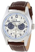 Peugeot 2028 Silver-Tone Multi-Function Brown Leather Strap