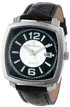 Peugeot 2032S Silver-Tone Black Leather Strap