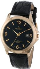 Peugeot 2035 Round Gold-Tone Black Leather Strap and Black Dial
