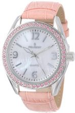 Peugeot 3006PK Silver-Tone Swarovski Crystal Accented Pink Leather Strap