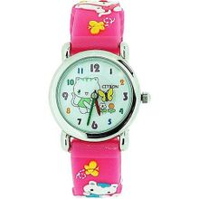 Citron Girls Kitty with Flowers Pink Silicone Strap KID44