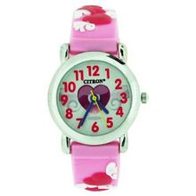 Citron Girls Love Hearts Lilac/Pink Silicone Strap KID97