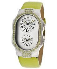 Dual Time Light Silver Dial Light Green Genuine Textured Leather