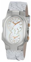 Philip Stein 1-MOPRG-OMW Signature Mother-Of-Pearl and Rose Gold Accent Metallic White Ostrich Strap