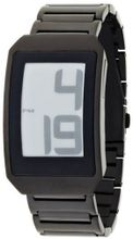 Phosphor Unisex DH06 Digital Hour E-INK Curved Black Ion-Plated Metal Band