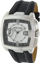 Police 13895JS-04 Commander Silver and Black Leather Strap