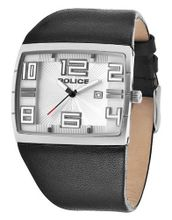 Police 13936JS-04 Vision Silver and Black Leather Strap