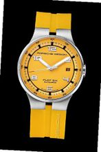 Porsche Design Flat Six Automatic , Sandblasted stainless steel, yellow