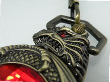 Red Eyed Serpent Mechanical Pocket with Matching Chain