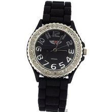 Prince London Crystal Embedded Bezel Black Dial Ladies Sports 27090BLK