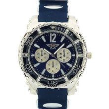 Prince London Gents Large Dial Chrono Effect Blue Rubber Strap Casual