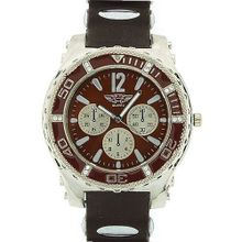 Prince London Gents Large Dial Chrono Effect Brown Rubber Strap Casual