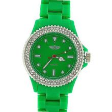 Prince London Ladies Stone Set Bezel Green Plastic Strap Casual PI-2011