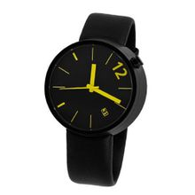 Denis Guidone Angles Toward the Body with Yellow Numbers and Black Leather Band 40mm