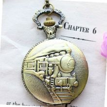 Antique Necklace Pocket With Locomotive Pattern