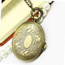 Costume Jewelry Fashion Egg Shape Pendant Pocket With Carved Flower Pattern