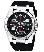 Pulsar Chronograph Stainless Steel Case Rubber Strap Black Dial Quartz Movement Chronograph PF3761
