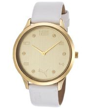 Gold Tone Dial White Leatherette