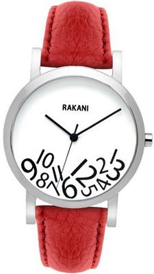Rakani What Time? 40mm Black on White with Red Leather Band