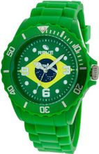 Rave Flag es Brasil RV1153 Midsize with Green Silicone Band